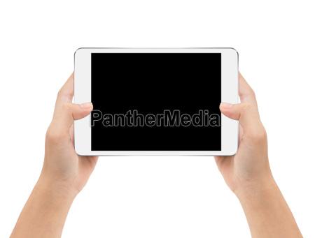mock up digital tablet in hand