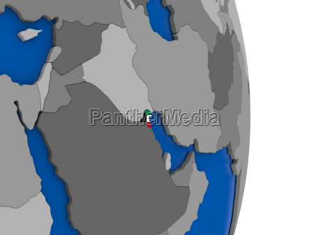 kuwait on globe with flag