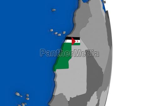 western sahara on globe with flag