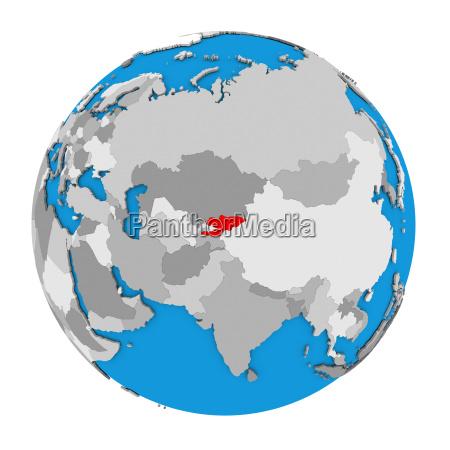 kyrgyzstan on globe