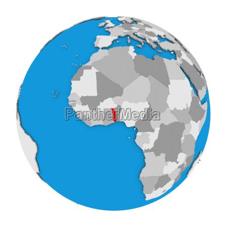 togo on globe