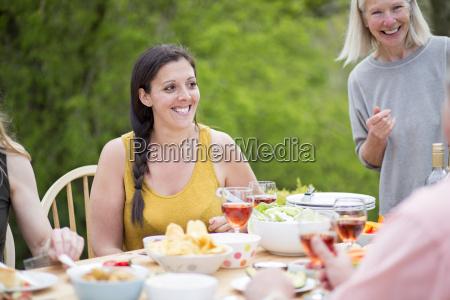 woman enjoying garden party