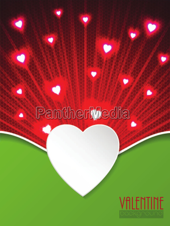 valentine day greeting with bursting hearts
