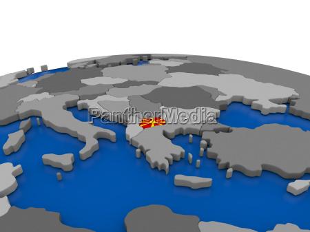 macedonia on 3d globe