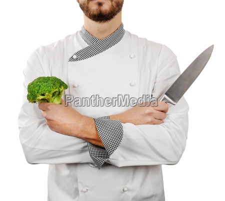 cook with knife isolated on white
