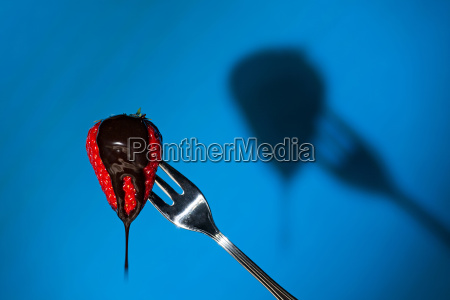 close up of a strawberry and