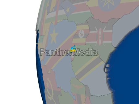rwanda with national flag