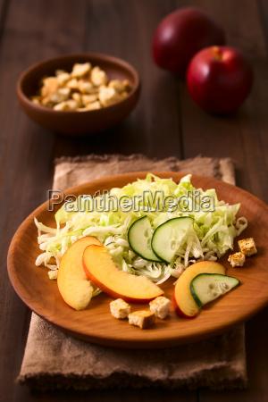 nectarine cucumber and lettuce salad