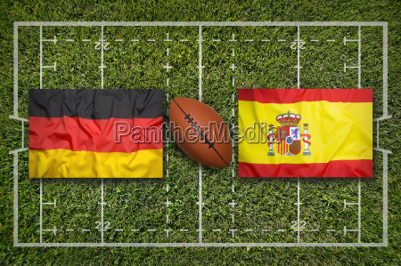 germany vs spain flags on rugby