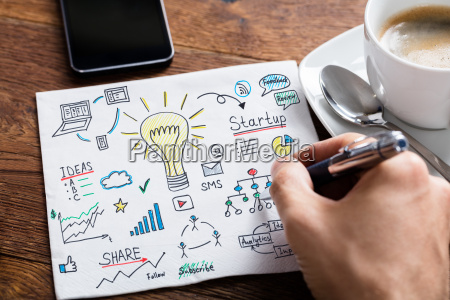 person drawing lightbulb ideas concept on