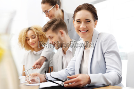 business meeting portrait of smiling woman
