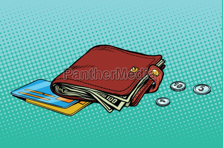 leather wallet with credit card and