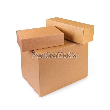 stacked cardboard boxes isolated on white