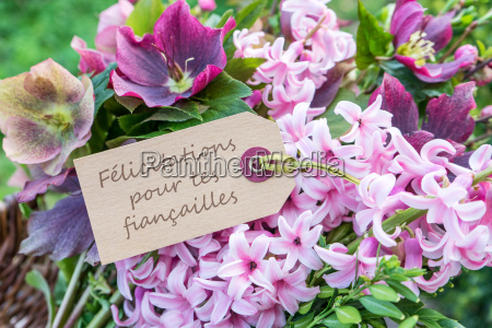 french greeting card with hyacinths and