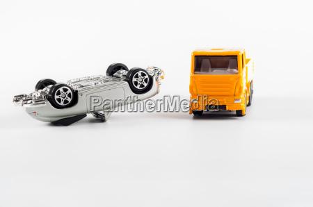 toy car crash on white background