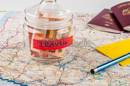 savings jar for travel on a