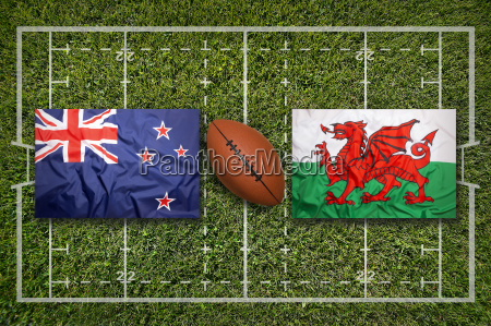 new zealand vs wales flags on