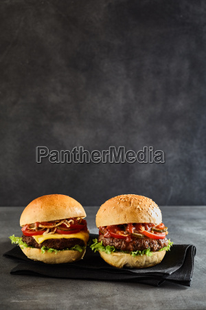 pair of beef patty burgers set