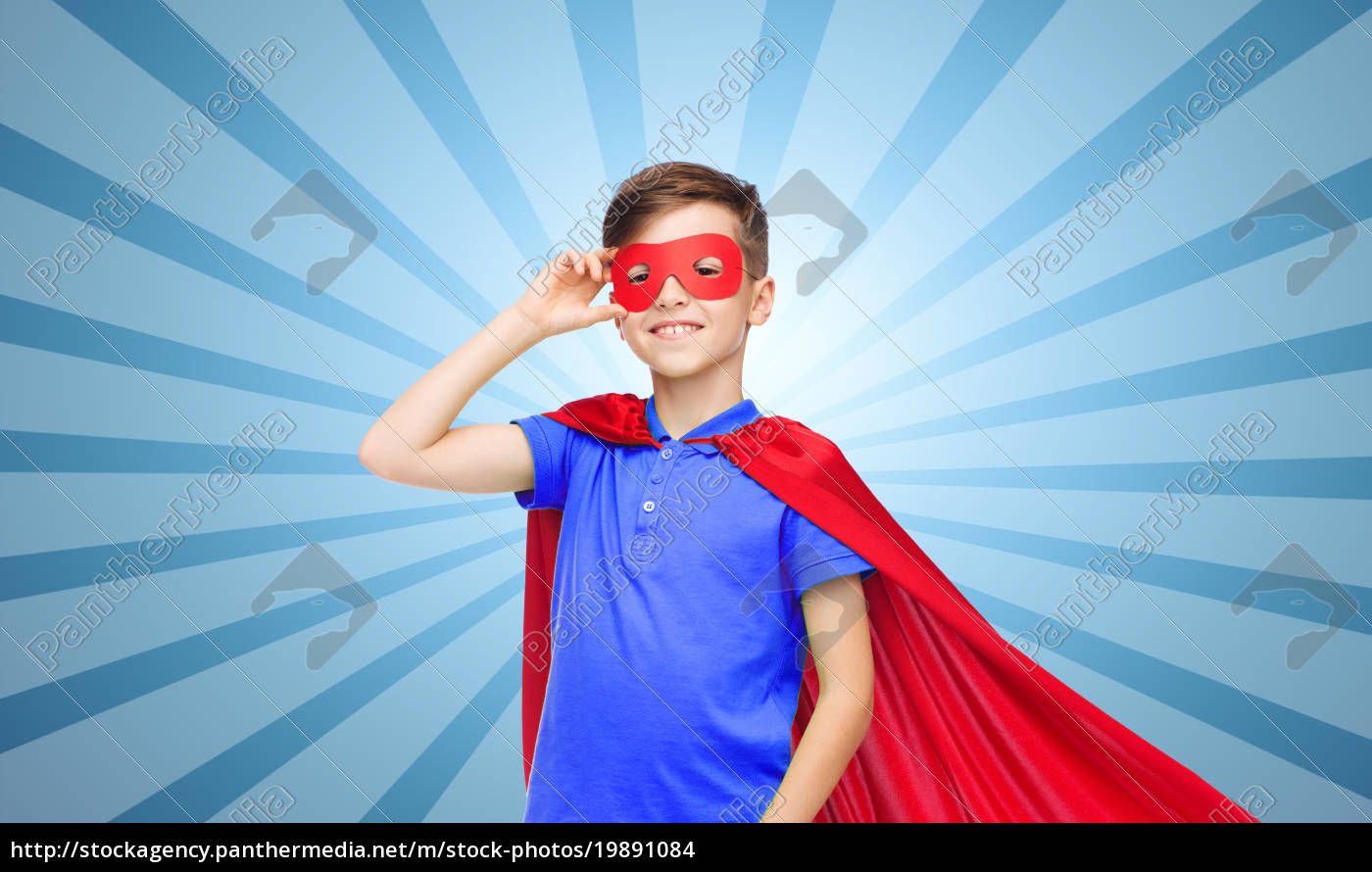 boy, in, red, super, hero, cape - 19891084