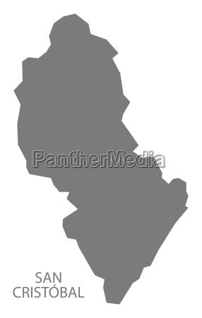 san cristobal dominican republic map grey