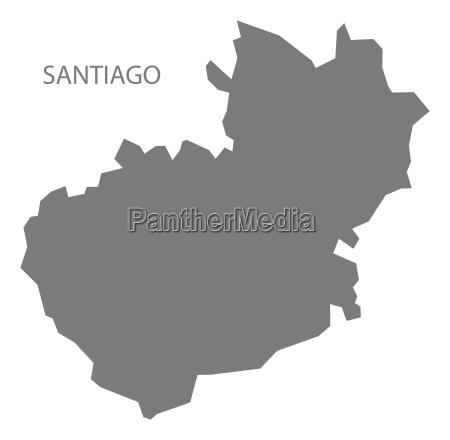 santiago dominican republic map grey
