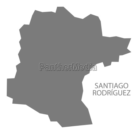 santiago rodriguez dominican republic map grey
