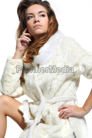 lady in white fur cute woman