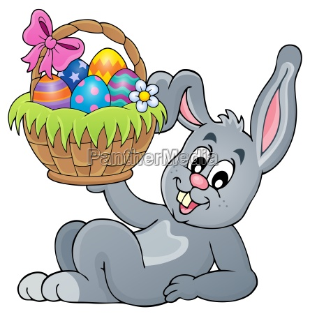 bunny holding easter basket theme 5