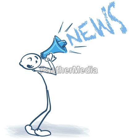 stick figures with megaphones and news