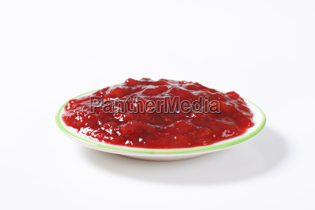 plate of strawberry jam
