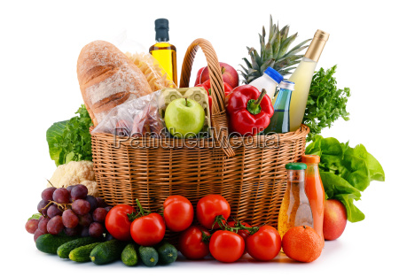 wicker basket with assorted gorcery products