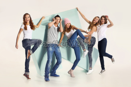 group of friends with a large