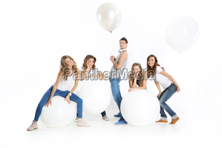 group of young people with big