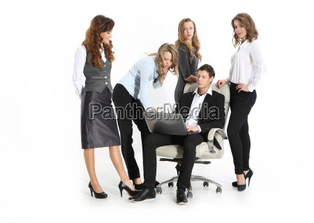 business young boss and a group