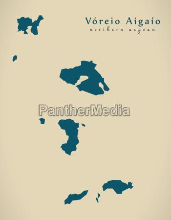 modern map voreio aigaio greece