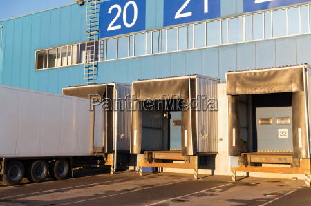 warehouse gates and truck loading
