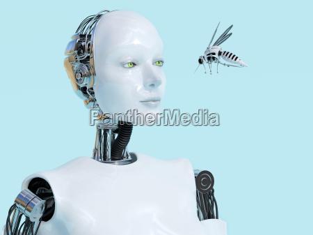 3d rendering of female robot looking