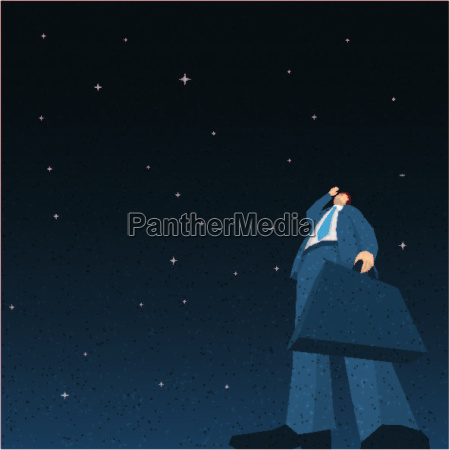 businessman searching in the night