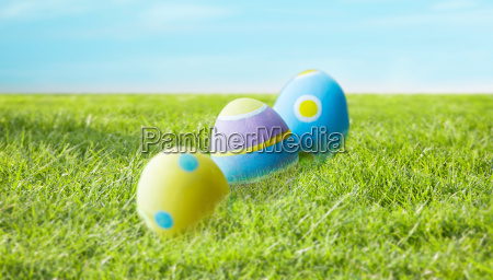 close up of colored easter eggs