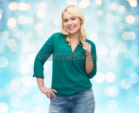 smiling young woman in shirt and