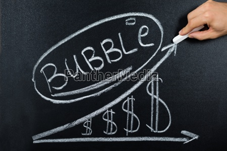 bubble concept with dollar chart drawn