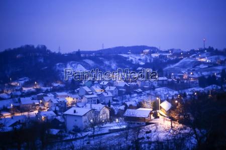 snow in village