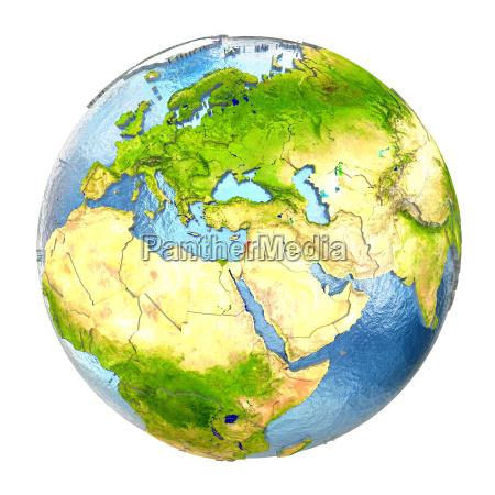 lebanon in red on full earth
