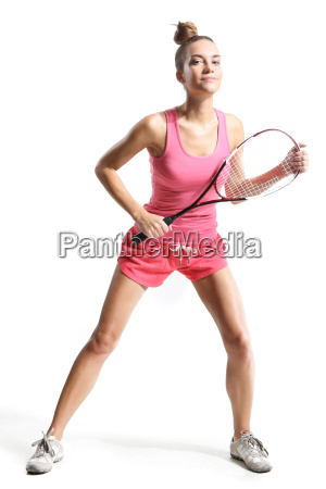 beautiful athletic woman with squash racketrbeautiful