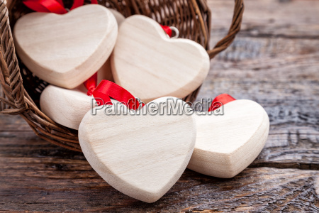 wooden basket full of hearts