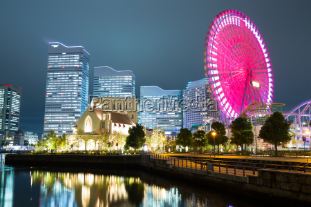 city skyline in japan at night