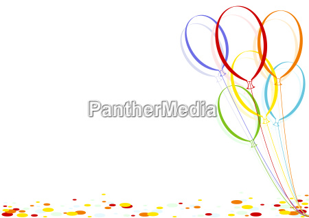 colored confetti and party balloons