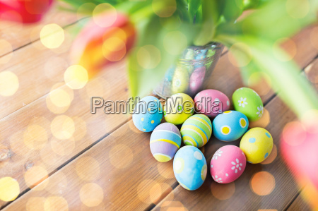 close up of easter eggs and