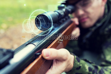 close up of soldier or sniper