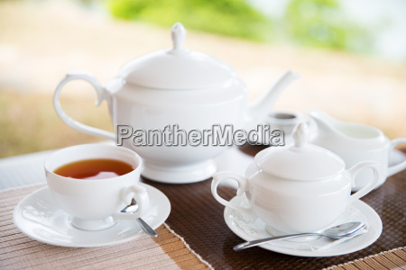 close up of tea service at